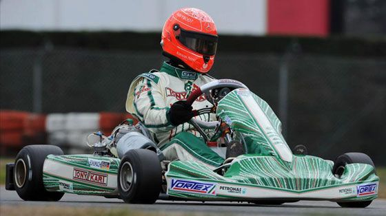 Michael Schumacher driving a kart