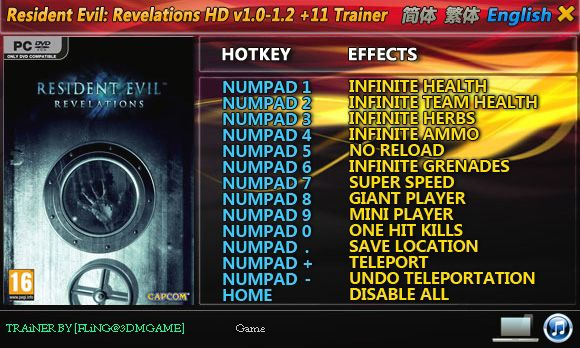 Resident Evil: Revelations HD 1.0-Update 2 +11 Trainer [FliNG]