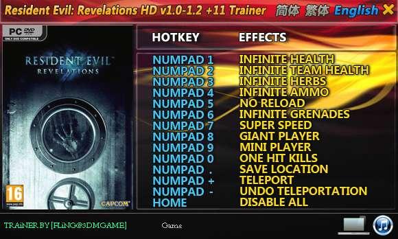 Resident Evil: Revelations HD 1.0-Update 2 +11 Trainer [FliNG]