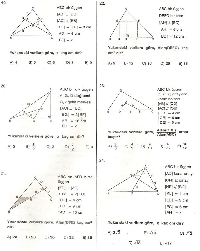 üçgende alan soruları