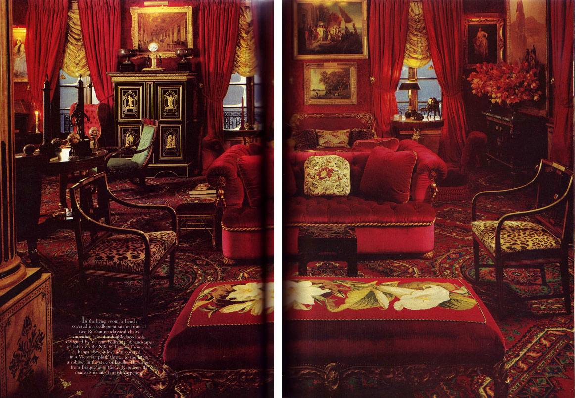 Tudor Style Wallpaper In Decorous Taste Red Room