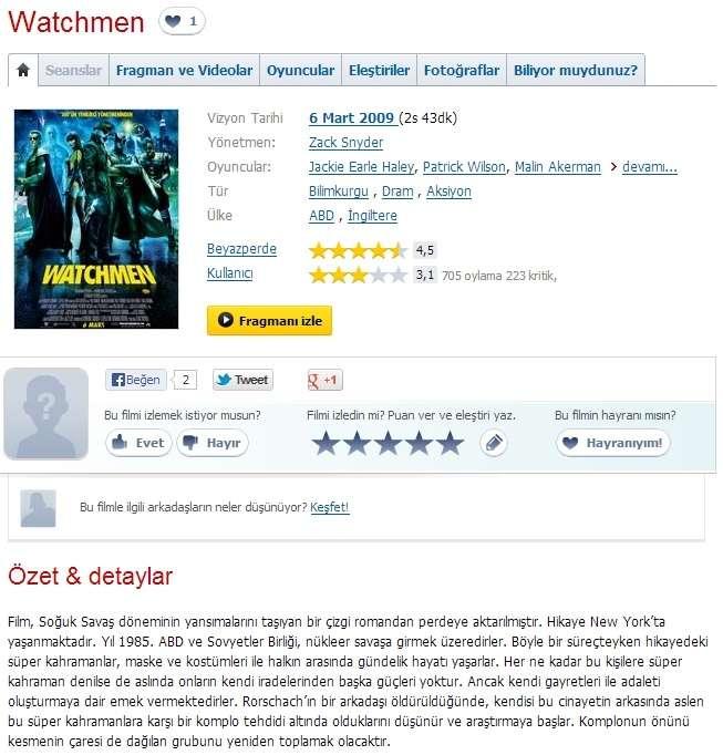 Watchmen - 2009 BluRay 1080p DuaL x264 MKV indir